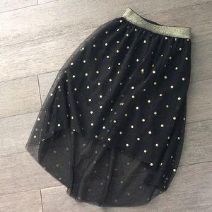 Girls high low skirt polka dot black S 6/6x